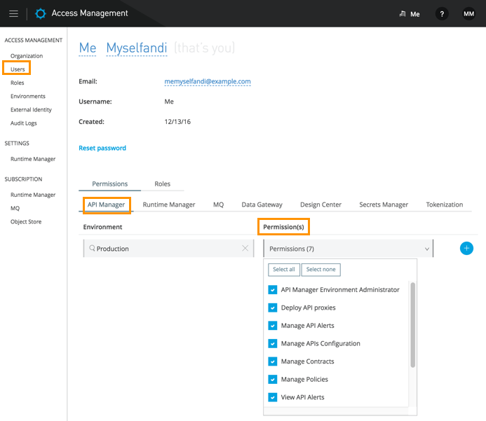 Granting Permission to Access an environment | MuleSoft