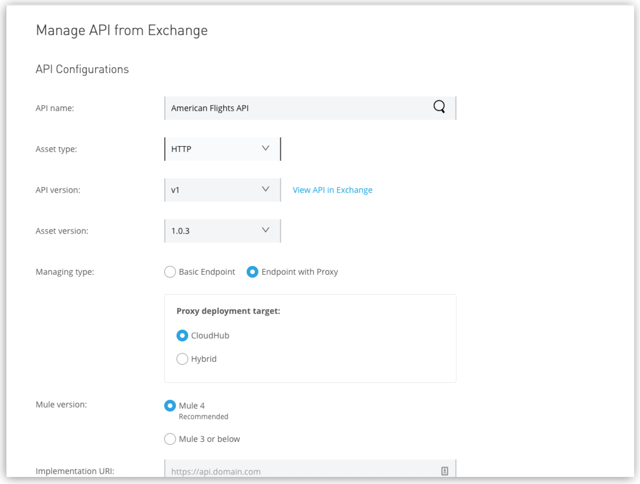 Quick start: Manage an API and set up a proxy for it | MuleSoft