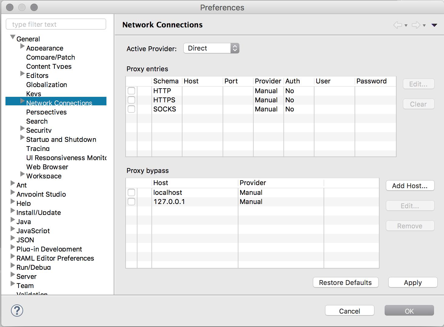Proxy Settings Reference (Anypoint Studio) | MuleSoft